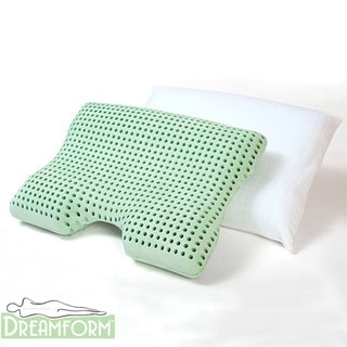 Dream Form Dual Comfort Medium-soft Tan Memory-foam Pillow with Cover