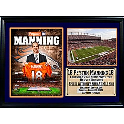 Denver Broncos Peyton Manning Photo and Stats in a Black Frame