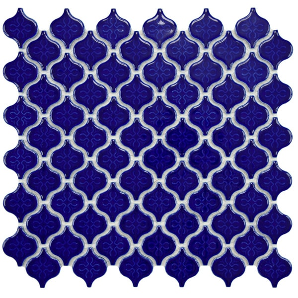 SomerTile 10.75x11.25 Morocco 1.5-in Mini Cobalt Porcelain Mosaic Tile (Pack of 10)