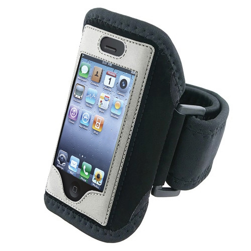 BasAcc Black with Silver Trim Armband for Apple iPhone 4S/ 3GS