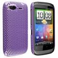 Purple Meshed Rear Snap-on Rubber Coated Case for HTC Desire S