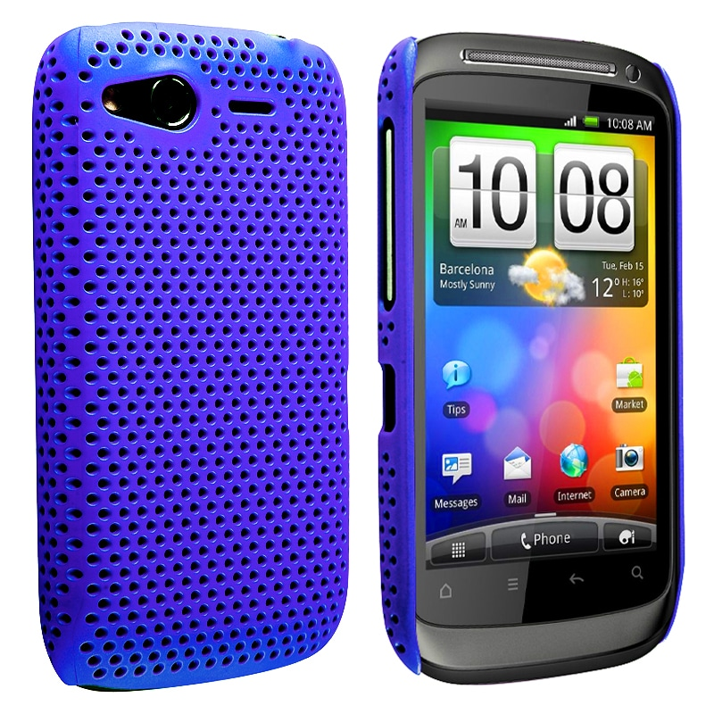Blue Meshed Rear Snap-on Rubber Coated Case for HTC Desire S