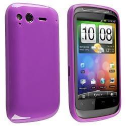 Purple Jelly TPU Rubber Skin Case for HTC Desire S
