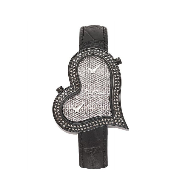 Joe Rodeo Women's Heart Dual-Time Water-Resistant Diamond Watch