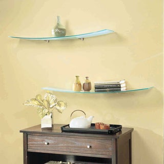 Concavo Clear Glass 8-inch x 40-inch Shelf Kit with Brackets