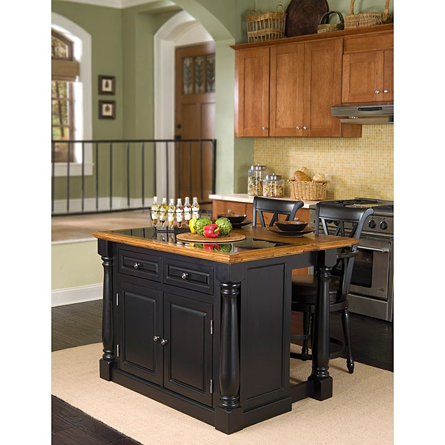 Monarch Island with Granite Top Black/ Distressed Oak Finish and Bar Stools