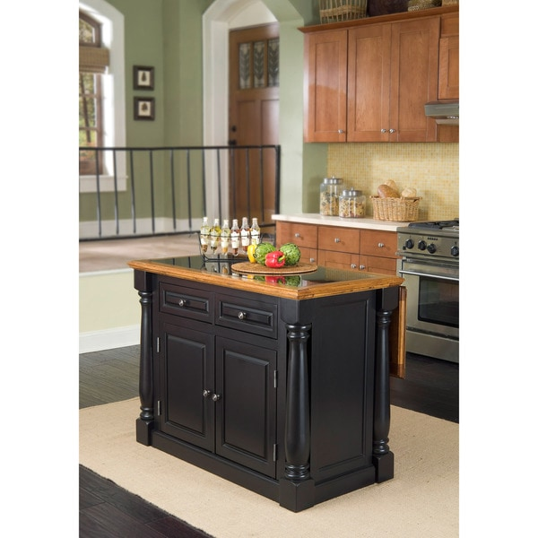 Monarch Island Black/ Distressed Oak Finish with Granite Top