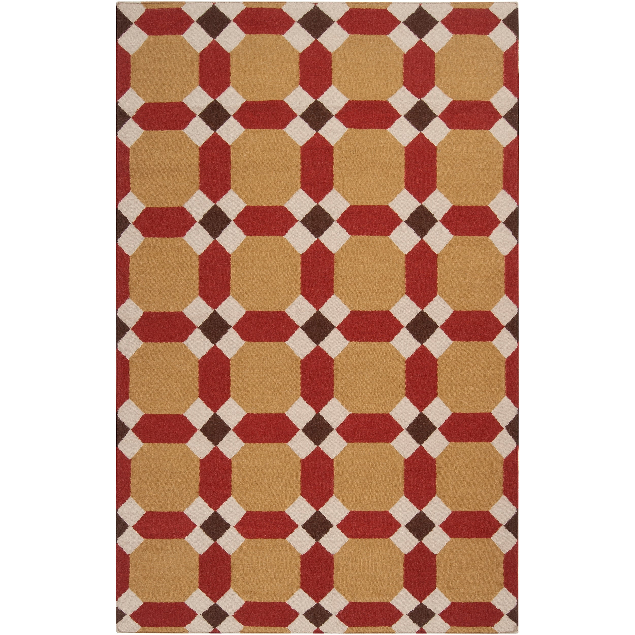 Smithsonian Handwoven Red Anchor Wool Area Rug (5' x 8')