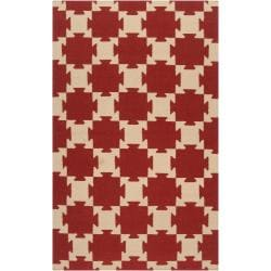 Smithsonian Hand-woven Red Anchor Wool Rug (3'6 x 5'6)