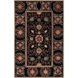 Hand-tufted Black Paisley Bordered Ora Wool Rug (3'3 x 5'3)