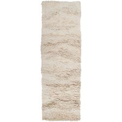 Hand-woven Ivory Buurk Plush Shag New Zealand Wool Rug (2'6 x 8')