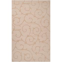Hand-crafted Beige Solid Swirl Bristol Wool Rug (3'3 x 5'3)