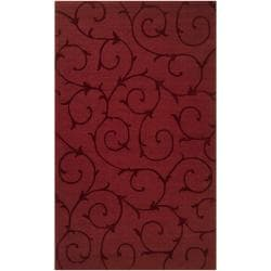 Hand-crafted Red Solid Swirl Bristol Wool Rug (3'3 x 5'3)