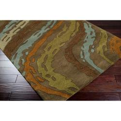 Hand-tufted Contemporary Multi Colored Striped Bostor New Zealand Wool Abstract Rug (3'3 x 5'3)