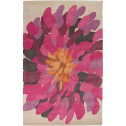 Hand-tufted Contemporary /Pink Bostor New Zealand Wool Abstract Rug (9' x 13')