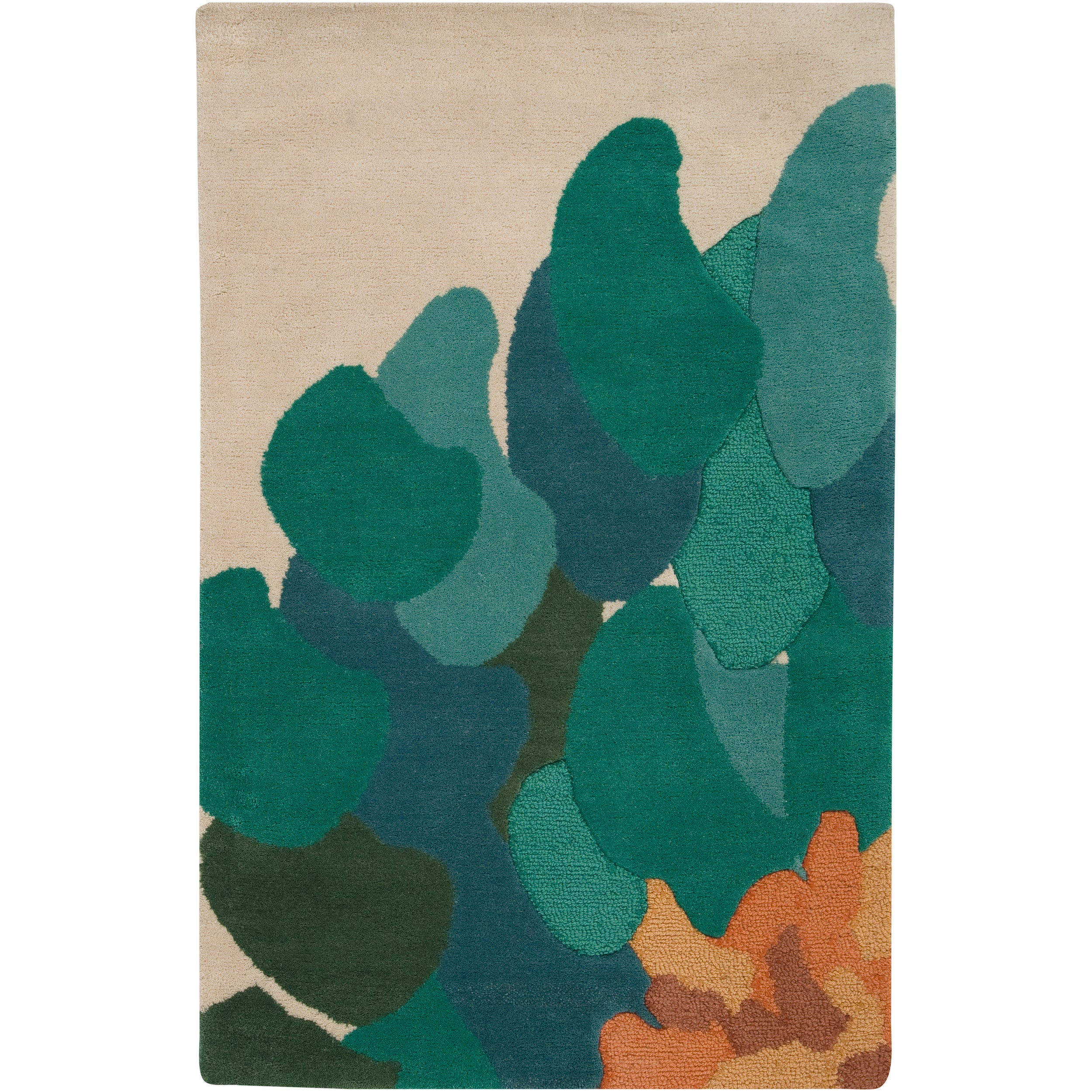 Hand-tufted Contemporary /Green Bostor New Zealand Wool Abstract Rug (3'3 x 5'3)