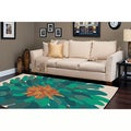 Hand-tufted Contemporary Floral Green Bostor New Zealand Wool Abstract Rug (5' x 8')