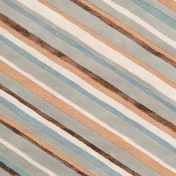 Candice Olson Hand-tufted Gray Cane Diagonal Stripes Wool Rug (3'3 x 5'3)