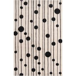 Candice Olson Hand-tufted White Cane Geometric Wool Rug (3'3 x 5'3)