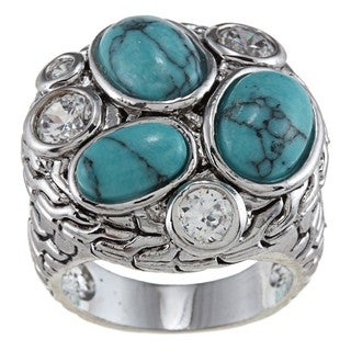 City Style Silvertone Stabilized Turquoise and Clear Cubic Zirconia Ring
