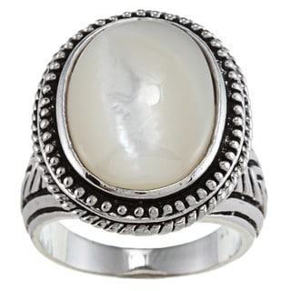 City by City Oval-cut White Mother-of-pearl Antiqued Silvertone Fashion Ring