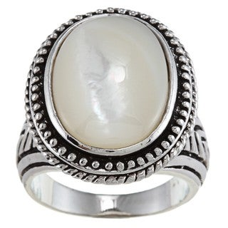Oval-cut White Mother-of-pearl Antiqued Silvertone Fashion Ring