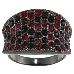 City Style Black-plated Black and Red Crystal Pave Ring
