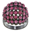 Black-plated Rose Crystal Ball Ring