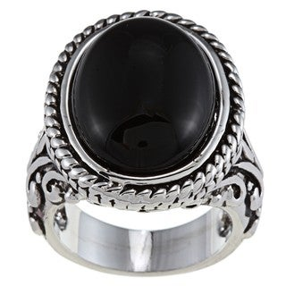 Silvertone Oval-cut Black Resin Antiqued Fashion Ring with Scrollwork