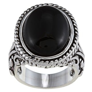 City by City Silvertone Oval-cut Black Resin Antiqued Fashion Ring with Scrollwork