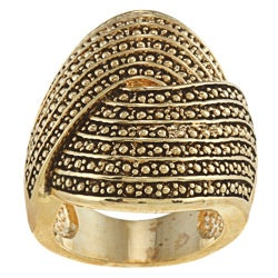 City by City Goldtone Antiqued Large Swirl Pave Design Ring
