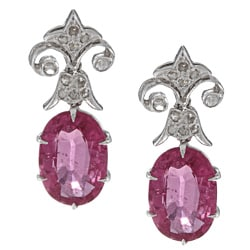 18k White Gold 1/5ct TDW Art Deco Estate Rubelite Earrings (G-H, VS1-VS2)