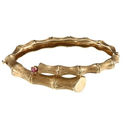 14k Yellow Gold Carved Bamboo Bangle