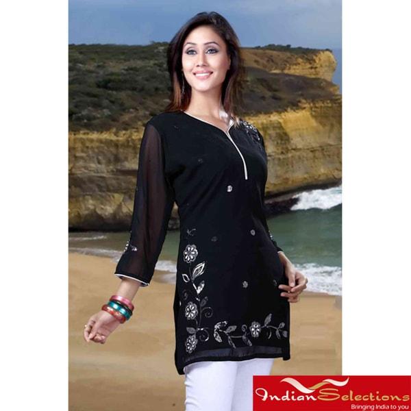 Black Georgette Three-Quarter-Sleeve Embroidered Kurti/Tunic (India)