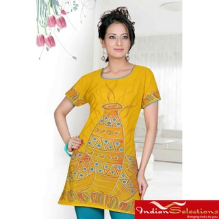 Mustard Crepe 3/4-sleeve Kurti/Tunic (India)