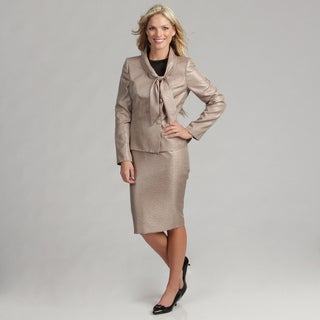 Le Suit Women's Champagne Tie Neck Skirt Suit