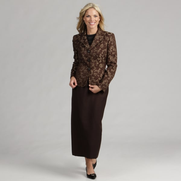 Le Suit Women's Chocolate/ Taupe Skirt Suit