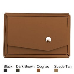 Recycled Leather Solid-color Snap-closure Business Card Holder