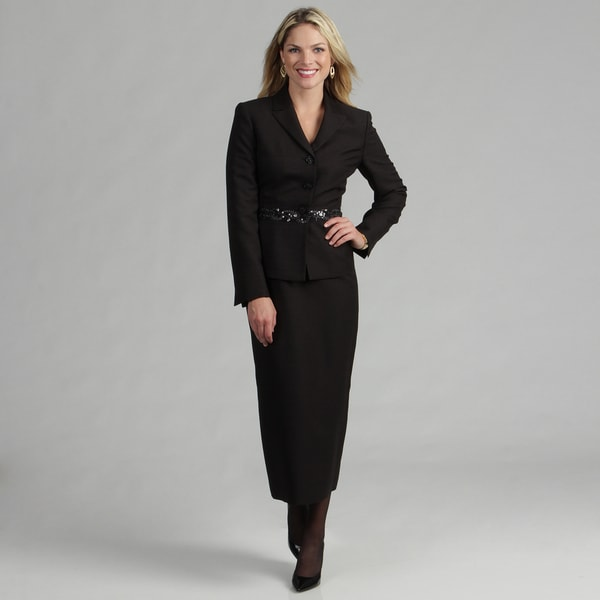 Le Suit Women's Black 3-button Skirt Suit