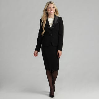 Le Suit Women's Black Ruffled 2-button Skirt Suit FINAL SALE