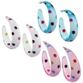 Colored Acrylic Polka Dot Semi-hoop Earrings