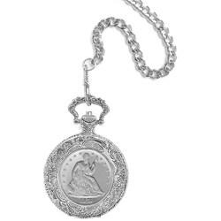 American Coin Treasures Seated Liberty Silver Half Dollar Pocket Watch
