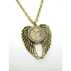 American Coin Treasures Gold Layered Hummingbird Coin Rhinestone Wing Pendant