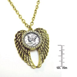 American Coin Treasures Mercury Dime Rhinestone Wing Necklace
