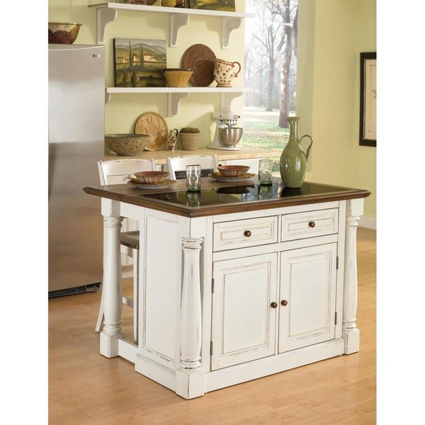 Home Styles Antiqued White Kitchen Island with Granite Top and Two Stools