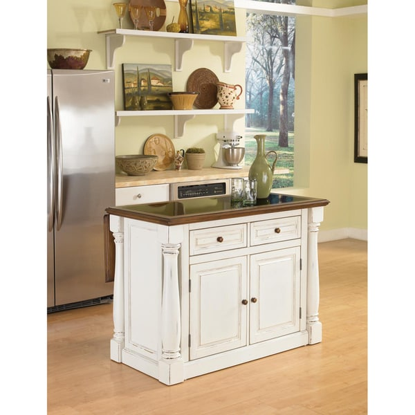 Home Styles Monarch Antiqued White Kitchen Island with Granite Top