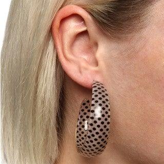 Acrylic Black and White Polka Dot Semi-hoop Earrings