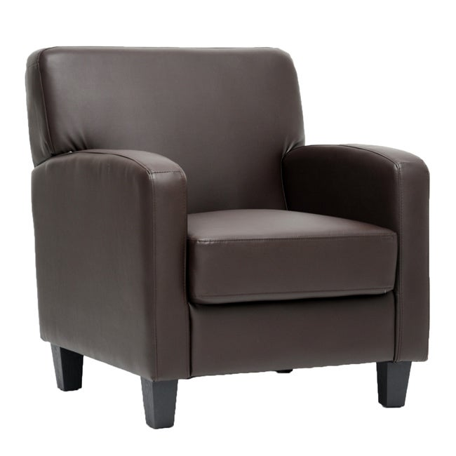 Peacock Brown Leather Modern Club Chair 14216120