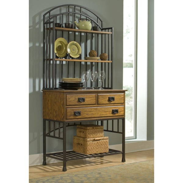 Oak Hill Distressed Oak Bakers Rack
