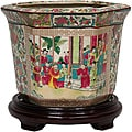 Porcelain 10-inch Rose Medallion Flower Pot (China)